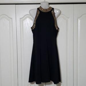 Michael kors black dress with gold embellishments